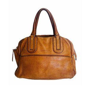 Longchamp Pebbled Leather Large Satchel Tan Auth